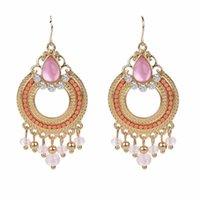 New Hot Sale Fashion Women Temperament Retro Exaggeration Drop Earrings Crystal Beads Dangle Earrings Eardrops