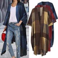 Vintage Plaid Kimono Femmes Cardigans Celmia 2020 Mode Long T-shirts Sexy Blouse à manches longues Couverture de plage décontractée Up Plus Taille Top