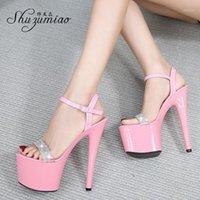 Shuzumiao Femmes Chaussures Plate-forme Sandales d'été Femmes 2021 High Talons 17cm Sexy Party Chaussures Femme Stilettos Big Taille 431
