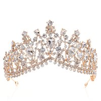 Роскошь Rhinestone Tiara Crowns Crystal Bridal Аксессуары для волос Свадебные наушники Куйнкена Pageant Prom Prom Queen Tiara Принцесса Корона