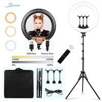 Flash-Köpfe 22-Zoll-Licht + 2M-Stativ-Profission-LED-Ring für PO Selfie-Video-Ringlicht mit Fernbedienung POGRAPHY-Beleuchtung1