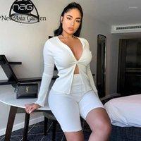 Newasia Garden Çift Fermuar Iki Parçalı Set T Gömlek Ve Şort Kadınlar Nervürlü O-Boyun Uzun Kollu Kayma İki Parçalı Kıyafetler1