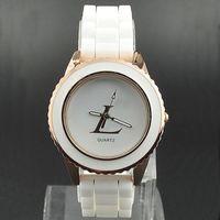 패션 브랜드 시계 여성 소녀 스타일 다이얼 실리콘 밴드 쿼츠 손목 시계 L02