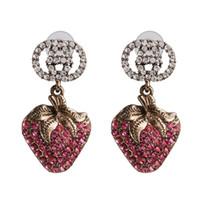 موضة جديدة حجر الراين اللون الوردي أنيقة وعصري الفراولة الفاكهة العصرية قطرة المياه أقراط مجوهرات للنساء 2020