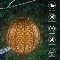 최고의 LED F5 밀 짚 모자 램프 구슬 제어 자동 유도 정원 장식 램프 야외 방수 정원 레트로 철 램프 태양 전지 패널