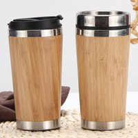 450ml Edelstahl Becher Autokasse lässt sich wiederverwendet Bambusschale Kaffeetassen oder Tasse mit Abdeckung Getränke Meer Versand W66