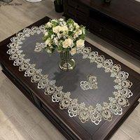 Tabela Pano Europeu Capa Oval Bordado Toalha De Tabela De Tabela De Flor Living Sala Mat Lace Modern Simples