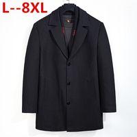 Мужские куртки плюс 8xL 6xL 5XL зима мужская повседневная шерсть траншеи пальто мода бизнес длинный утолщение тонкий пальто куртки мужской пащина бюстгальтер