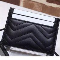 Diseñadores de lujos de cuero genuino Manos de moda Tarjetas de mujer Titulares de mujeres Black Lambskin Mini billeteras monedero bolsillo bolsillo de bolsillo