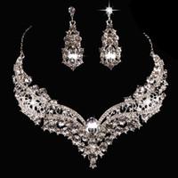Pendientes de gota de joyería nupcial Europa y americana popular gran marca de aleación conjuntos de diamantes completos collar para la boda del partido 2018