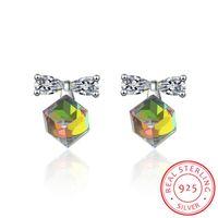Stud Lekani Genuine 925 Plata Cube Cristales de Pendientes Zirconia Piedra Moda Bowknot Joyería para Mujeres Girls Regalo