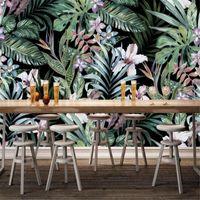 milofi handgemalte europäische pastorale stil tropische regenwald südostasien mural background wall1