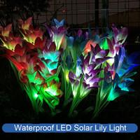 2 개 LED 태양 릴리 빛 방수 다채로운 시뮬레이션 꽃 축제 잔디 램프 태양 빛 정원 장식 랜턴 122 N2