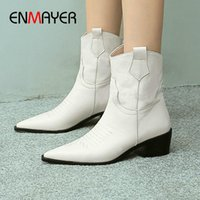 ENMAYER 2020 Fashion Winter Boots Basic Genuine Leather Pointed Toe Leather Boots Women Spike Heels Ankle for Women Zip
