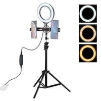 Têtes flash PKT3036 6,2 pouces 16cm USB 3 modes Dimmable Bague de LED Vlogging Pographie Vidéo lumières avec tête de trépied à chaussure à froid