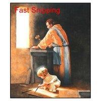 Destino menino Jesus unha picos em Joseph's Carpenter Shop Decor Home HD Pintura a óleo sobre Canvas Wall Art Canva Qylwso Toys2010