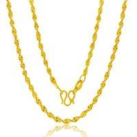 Original 18 Karat Gelbgold Farbe Halskette für Frauen Wasser Wellenkette Schlange Knochen / Box / O Kette 45 cm Halskette Anhänger Schmuck