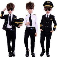 Тема костюм мода детский день пилот униформа стюардесса косплей Хэллоуин костюмы для детей замаскируя девочку мальчик капитан самолет FA