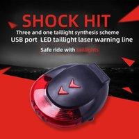 6 LED Bisiklet Arka Lambası USB Şarj Edilebilir Lazer Uyarı Hattı Taillight Süper Parlak Kırmızı Güvenlik 7 Modu 180-Derece