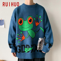 Ruihuo estampado suéter hombres ropa 2020 Moda Harajuku Suéteres Suéteres Mens Suéter para hombres Ropa coreana M-5XL