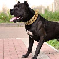 30mm starke Metallhundkette Halsbänder Edelstahl Pet Training Choke Collar für große Hunde Pitbull Bulldog Silber Gold Showkragen