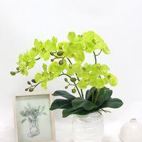 Flores decorativas grinaldas artificiais touch touch borboleta orquídea 60cm diy látex com folhas verdes falsificadas plantas em vasos casamento decorati