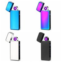 USB 충전 전기 라이터 터치 스크린 센서 LED 전원 디스플레이 아크 라이터와 방풍 촛불 시가 담배 라이터 DBC BH4578
