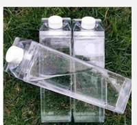500ml Transparent Quadratischer Becher Kunststoff Milchkarton Flaschen Kaffeegetränk Tragbare Schüler Tassen Persönlichkeit Neue Ankunft 5 8Js F2