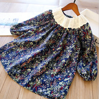 Süße Mädchen Blumengedruckte Kleider 2021 Frühling Kinder Spitze Falbala Langarm Kleidung Kinder Baumwolle Blumen A-Linie Kleid A5597