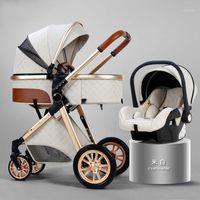 Poussettes n ° 2021 Poussette de bébé Haute Paysage 3 en 1 Chariots Chariots Poucheuse de luxe Cradel Porte-bébé Kinderwagen CAR1