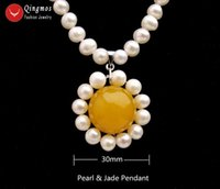 "Qingmos Fashion Natural Pearl 3mm 0pandant Collana per le donne con 6mm perla bianca 18mm giallo giade collana gioielli 17 ""N6528"