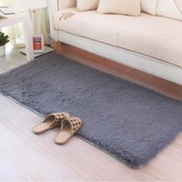 Carpets Grey Carpet 50*160cm 80*160cm Coffee Rugs For Bedroom Kitchen Floor Sofa Bed Side Home Decorative Soft Long Hair Non-slip Mat