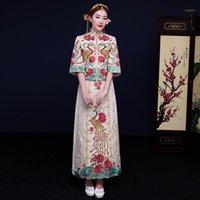 Vêtements ethniques Haute Qualité Tissage de la main Spring beige Cheongsam Robe de mariée pour femmes d'outre-mer Femmes chinois sexy Long Qi Pao Oriental Bride or