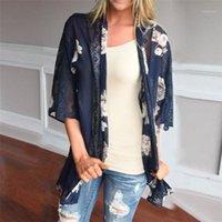 Mulheres Casacos e Casacos Tamanho Mais Verão Mulheres Floral Impressão Praia Chiffon Solto xale Kimono Cardigan Top Cover Blusa Outwear1
