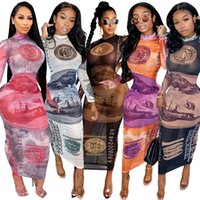 Femmes Gauze robes dames robe maigre manches longues Jupes de nuit Night Club vêtements Modycon Gauze robe Dollar Design S-2XL 5 couleurs 4271