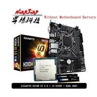 RAMS Intel Core I3 9100F CPU + GIGABYTE GA H310M S2 2.0 اللوحة الأم Pumeitou DDR4 8G 16G 2666MHZ دعوى LGA 1151 دون برودة 1