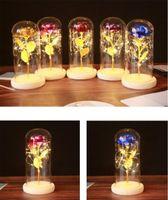 Nova Rosa Eterna Artificial Festiva LED luz beleza a besta na tampa de vidro Decoração de casa de Natal para mãe dia dos namorados presente de ano novo