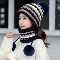 2020 Hot Winter Two-piece Velvet Hats Women 3 Hair Ball Knit Bib Warm Beanies Hat Female Windproof Wool Bonnet Riding Caps Sets