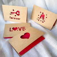 Cartolina d'auguri di carta kraft cartolina d'auguri di San Valentino cartolina d'auguri Hollow Greeting Biglietto di auguri per il ringraziamento Benedizione Benedizione 6pcs / set ZZC2754