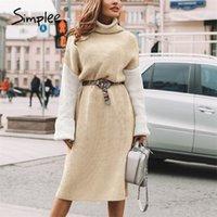 Simplee Yüksek Moda Patchwork Elbiseler Kadın Rahat Kaplumbağa Kış Triko Elbise Uzun Örme Kazak Elbise Vestidos 201027