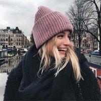 Herbst Winter Wolle Gestrickte Hut Lächelnd Gesicht Feste Farbe Verdickte Weiche Warme Beanie Caps Outdoor Sport Street Hat mit Tags
