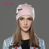 Beanie / Kafatası Caps LiliyabaHe Kadınlar Kış Şapka Örme Yün Rahat Kap Katı Renkler Femme Beanienow Kızlar için En Dekorasyon