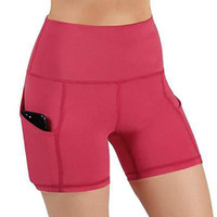 2020 Новые летние женщины Rayon Gym Jogging Runing Йога Шорты Высокая талия подъемный толчок жесткие спортивные фитнес-брюки с карманом