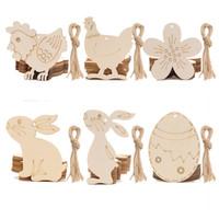 10 pçs / lote de madeira pingente de páscoa feliz ovos de páscoa coelho coelho pendurado ornamento crianças easter diy brinquedos