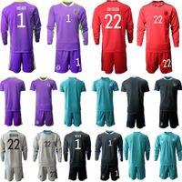2020 Hombres Kit de manga larga Alemania 1 Neuer Soccer Jersey 20 21 Set Kit de adultos Kit Kit de camisa de fútbol GK