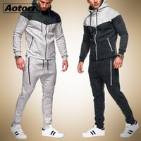 Antumn erkek Hoodie Eşofman Tişörtü Erkek Rahat 2 Parça Sportsuit Fermuar Ceket Pantolon Spor Erkekler Set Marka Giyim 201130
