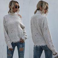 Femme Turtlenack Pulls Off Beige Beige Sweter Femmes automne Mujer Suteres Pull Femme Pull Jersey Pull-shirt Streetwear