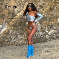 Kgfigu one épaule bikini femmes solides maillot de bain maillots de bain maillots de bain plage wear femelle taille sexy ensembles sexy1