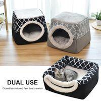 Pet Cat Dog Nest Dual Uso Caldo morbido letto a pelo letto per animali domestici antiscivolo traspirante Cat House Dog Sleep Mat da letto Coperta L / XL #
