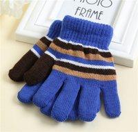 12 пар / лот зима детей полные пальцы перчатки полосатые вязаные теплые варежки детские перчатки для детей открытый лыжный спорт повседневная вязать перчатка LY112501